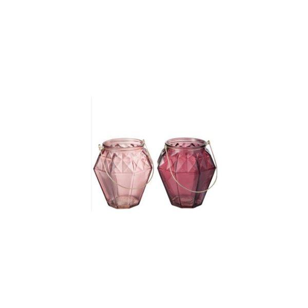 superte de velas de pendurar em vidro cor rosa velho