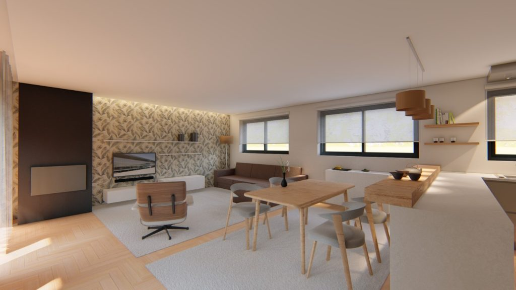 Projecto 3d De Sala E Cozinha A Medida Em Viana Do Castelo 7evadesign